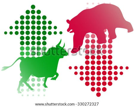 stock bull and bear icon logo with arrow design - stock vector