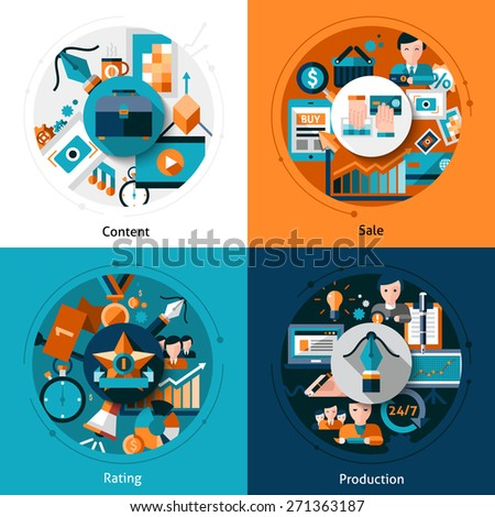 Stock design concept set with content sale rating and production flat icons isolated vector illustration - stock vector