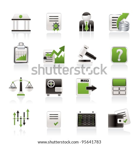 Stock exchange and finance icons - vector icon set - stock vector
