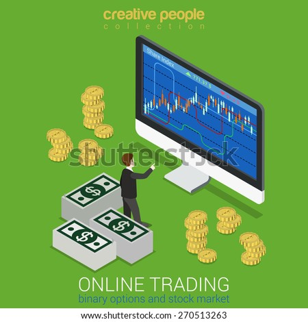 Stock exchange binary option online trading finance instrument market tools flat 3d web isometric infographic concept vector. Mini stock trader before hue monitor graphic. Creative people collection. - stock vector