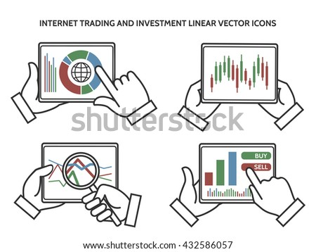 Stock exchange business hands. Internet trading and investment linear vector icons - stock vector
