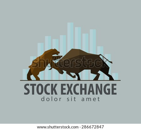 stock exchange, business vector logo design template. money, bull and bear icon. flat illustration - stock vector