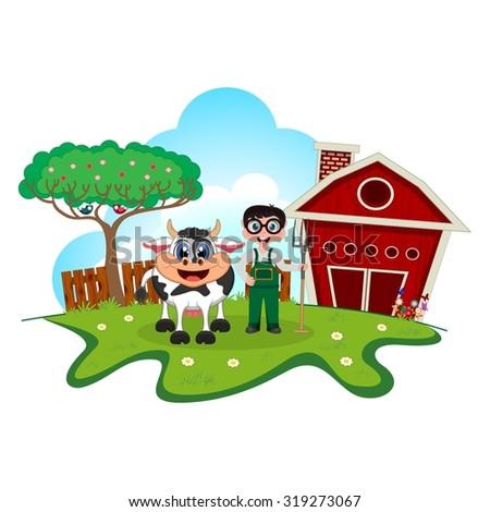 Stock farmer and cow cartoon in a farm for your design - stock vector