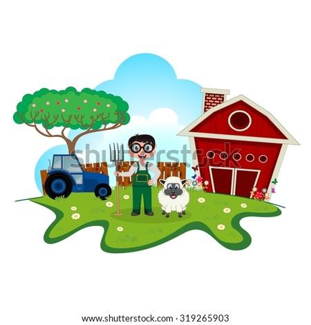 Stock farmer with sheep on farm cartoon for your design - stock vector
