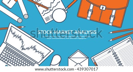 Stock market analysis,finance.Flat outline style. Line art.Money investing.Global economy, market news.Forex trading.Investment banking.Futures market trading.Financial investment.Long term investment - stock vector