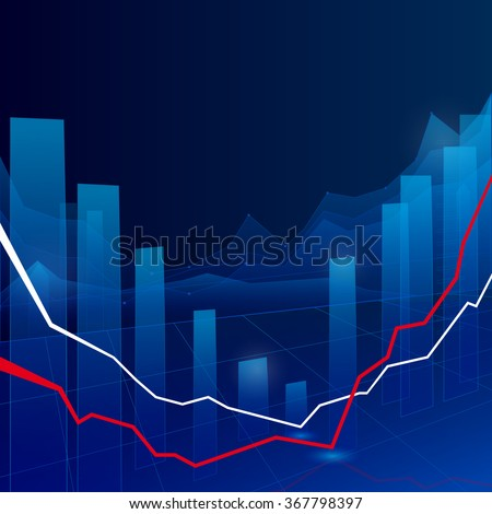 Stock Market Graph and Bar Chart - stock vector