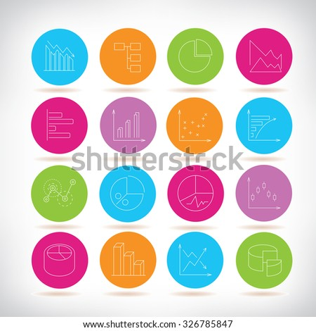 stock market graph icons, graph and chart icons - stock vector
