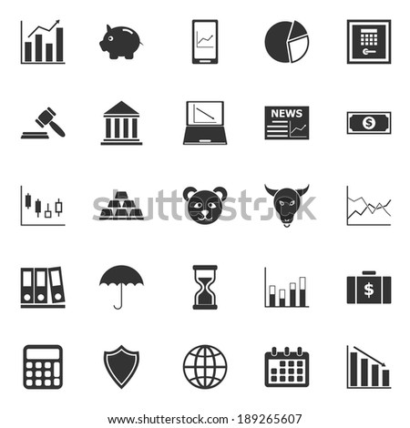 Stock market icons on white background, stock vector - stock vector