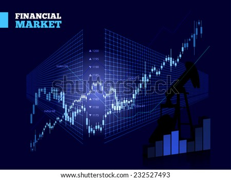 Stock Market Vector Chart on Blue Background - stock vector