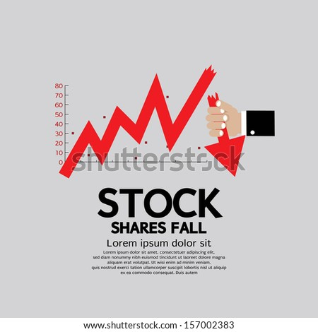 Stock Shares Fall Down Vector Illustration Conceptual EPS10 - stock vector