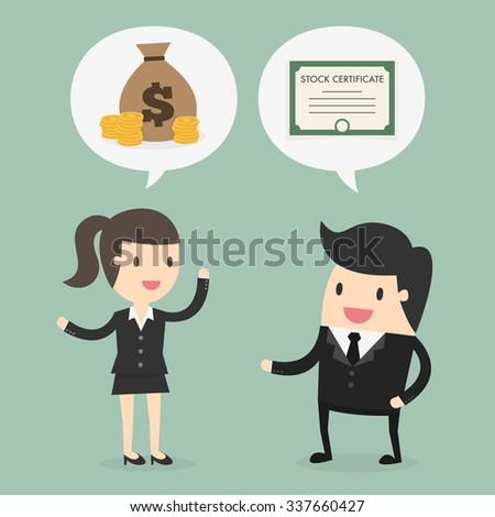 Stock trading. Business concept cartoon illustration - stock vector