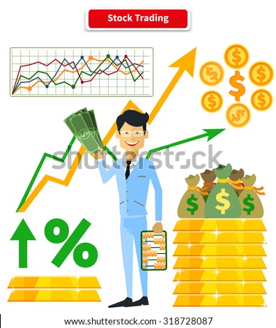 Stock trading concept flat style. Job and market, leadership human, employment and achievement business, diagram and wealth, finance and dollar, trader and report marketing analyzing illustration - stock vector