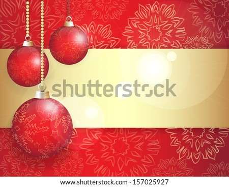 Stock vector banner with christmas balls and snowflakes ornament - stock vector