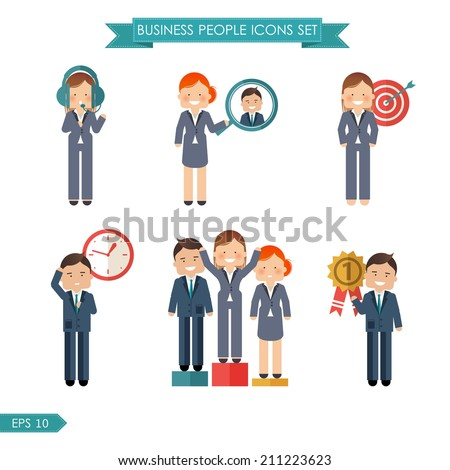 Stock vector business people flat icons set for your design - stock vector