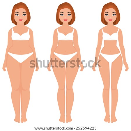 Stock vector cartoon illustration fat to slim women weight loss transformation front/Fat to slim woman weight loss transformation front/Stock vector cartoon illustration - stock vector