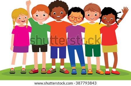 Stock Vector cartoon illustration of a group of children friends on a white background - stock vector