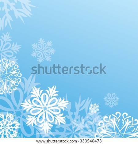 stock vector christmas background with snowflakes on blue - stock vector