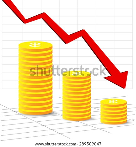 Stock vector downtrend it on a theme of business with cents, Red arrow - stock vector