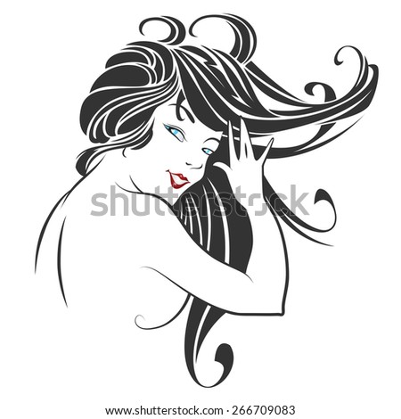 Stock vector. Face of a beautiful smiling girl - stock vector