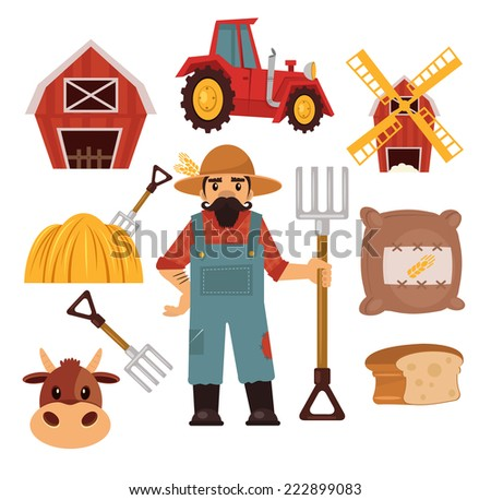 Stock vector farm flat illustration simple icon set  - stock vector