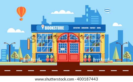 Stock vector illustration city street with book shop building, modern architectures, office building in flat style element for infographic, website, icon, games, motion design, video - stock vector