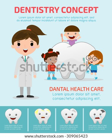 Stock Vector Illustration: Dentistry concept with dental health care, Dentist infographics, vector flat modern icons design illustration - stock vector