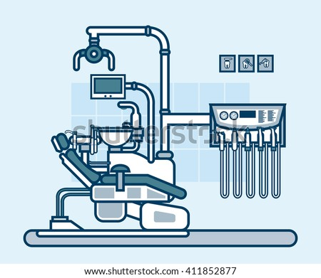 Stock vector illustration interior of dental office with dental chair in line style element for info graphic, website, icon - stock vector