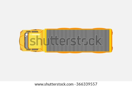 Stock vector illustration isolated delivery truck top view in flat style on gray background. Element for infographic, printed material, website, icon, card Congratulation on Day of motorist or driver - stock vector