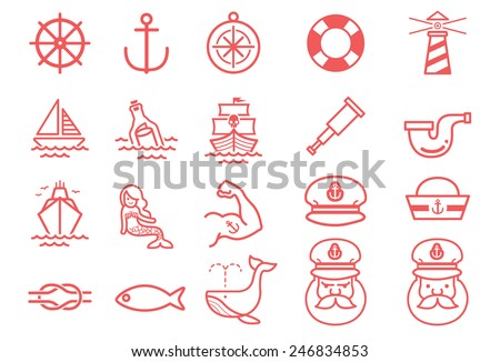 Stock Vector Illustration: Nautical icons - stock vector