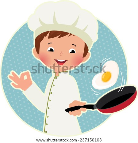 Stock vector illustration of a cute boy chef flipping an omelet or scrambled eggs/Cook virtuoso flipping an fried eggs or a omelette/Stock vector illustration in EPS 8 - stock vector