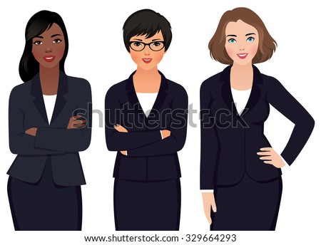 Stock vector illustration of different ethnic business woman in business suits isolated on a white background/Team different ethnic womans businessmen  in a suit/Stock vector illustration - stock vector
