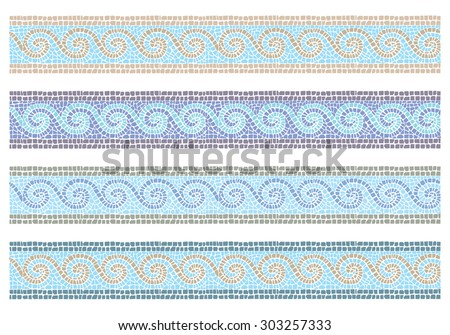 Stock vector illustration of vintage mosaic in the Byzantine style seamless border/Vintage mosaic seamless border/Stock vector illustration - stock vector