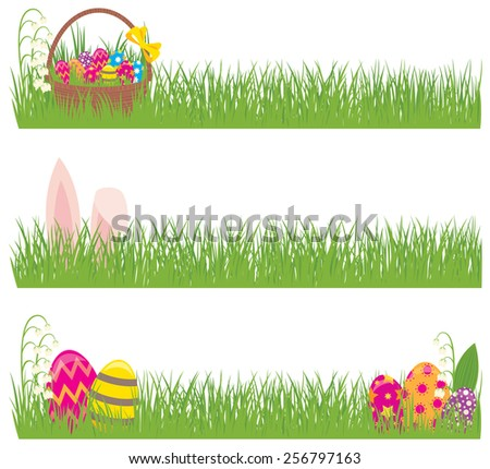 Stock vector illustration Set of Easter banners grass and Easter eggs/Set of Easter banners grass and Easter eggs/Stock vector illustration - stock vector