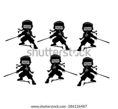 Stock Vector Illustration set of  ninja warrior vector silhouette - stock vector
