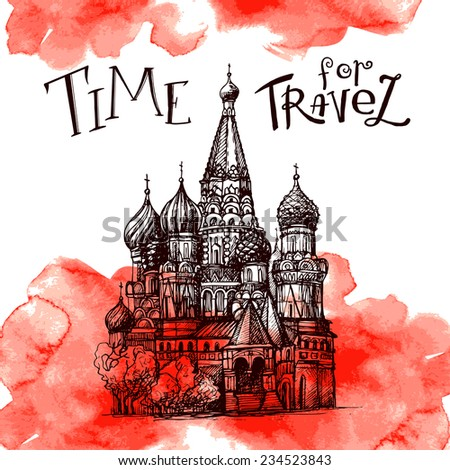Stock Vector Illustration: World famous landmark series: Kremlin, Moscow, Russia  - stock vector