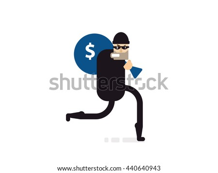 Stock Vector isolated illustration thief with bag of money, thief in black suit, thief stole money, robber runs, thief on white background,  in black mask, criminal with money in flat style - stock vector