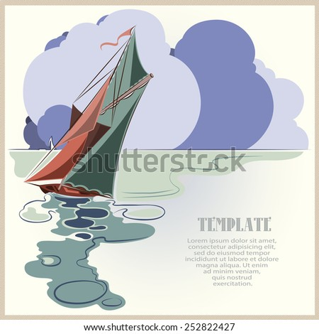 Stock vector. Sailing yacht racing over the waves in the open sea on a background of clouds. - stock vector