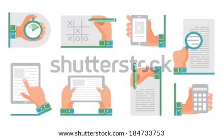 Stock vector set of flat icons - stock vector