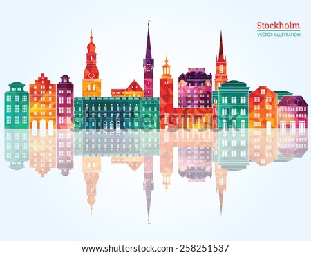 Stockholm detailed skyline. Vector illustration - stock vector