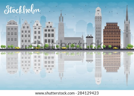 Stockholm Skyline with Grey Buildings and Blue Sky. Vector Illustration. Business travel and tourism concept with place for text. Image for presentation, banner, placard and web site. - stock vector