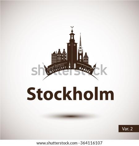 Stockholm Sweden. Nordic capital. City skyline silhouette. Vector illustration. Icon for travel agency.  - stock vector