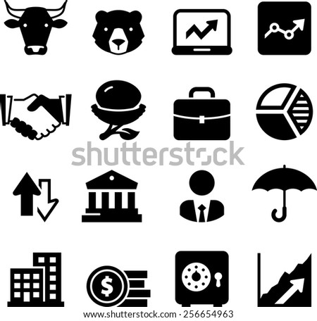 Stocks and equities icons. Vector icons for digital and print projects. - stock vector