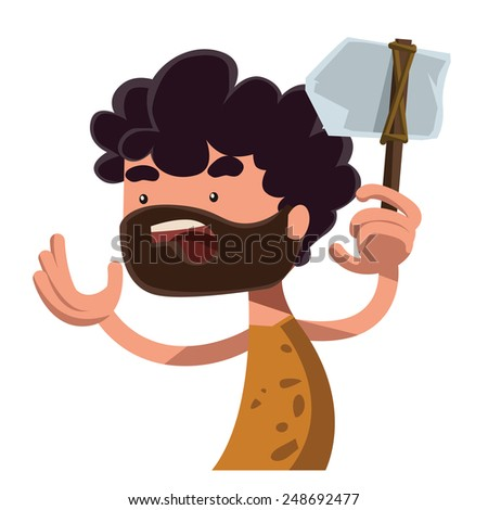 Stone age man holding ancient tool vector illustration cartoon character - stock vector
