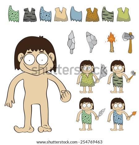 Stone age people cartoon vector illustration - stock vector
