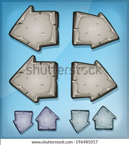 Stone Arrows Signs For Ui Game/ Illustration of a set of funny cartoon design stone and rock arrows signs, for game ui on tablet pc app or web interface buttons - stock vector