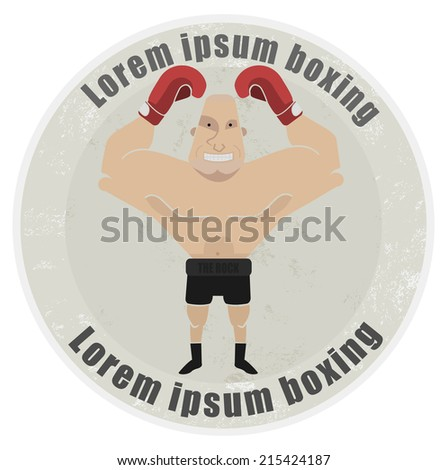 Stone athletic emblem with huge, bald heavyweight boxer - stock vector