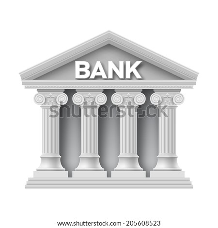 Stone building of bank with four columns - stock vector