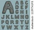Stone font - stock vector