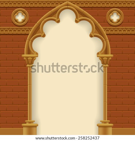Stone gothic arch and wall. Antique architecture frame.  Vector Illustration - stock vector