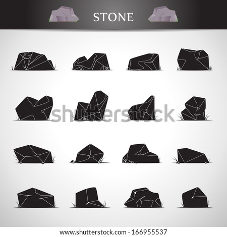 Stone Icons Set - Isolated On Gray Background - Vector Illustration, Graphic Design Editable For Your Design.  - stock vector